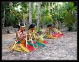 young yapese girls weaving baskets & other handicrafts