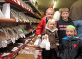 Picking out candy at Harry Birts Store