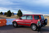 November 2012 - Kyler with his mom's Honda CR-V at Peterson AFB