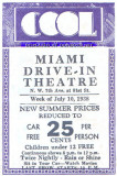1938 - Florida's first drive-in theatre, the Miami Drive-In Theatre, program for the week of July 10, 1938