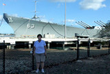 August 2010 - Karen with the USS Missouri (BB-63) at Ford Island, Pearl Harbor, Hawaii