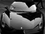 Lights Lines and Shadows of Black Ferrari