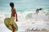 Young skimboarder
