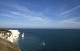 Sailing off the Dorset coastline.