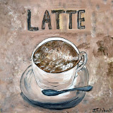 Cup of Latte acrylic, pen and ink on wood panal