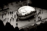 Cloud Gate, The Bean, Chicago view from Kemper Building, Chicago, IL - Open House, Chicago 2012, Black and White