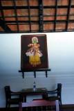 Seating with Kathakali dancer, Travancore Palace Restaurant, Cherthala, Kerala