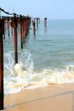 Waves testing the pier, Alappuzha beach, Alappuzha, Kerala