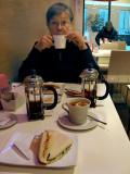 Margaret sippping tea between bites .. 4612