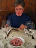Margaret reading the menu at Merlò  .. 5220