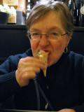 Margaret biting her tasty complimentary hors d'oeuvres .. 6086