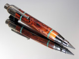 Mexican Cocobolo Turquoise Inlay Push Feed Sketch Pen/Pencil Combo Black Titanium Hardware