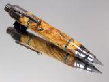 English Oak Burl Turquoise Inlay Push Feed Sketch Pen/Pencil Combo Black Titanium Hardware