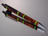 Desert Ironwood with Lime Green Bands Gel or Ballpoint Click Pen Black Titanium Hardware