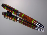 Desert Ironwood with Lime Green Bands Cigar Twist Pen Black Titanium Hardware