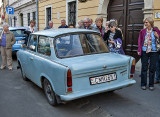 Tourists admiring a Trabant 601