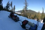 photographer,s sled outfitted for overnight and view of Fish Lake