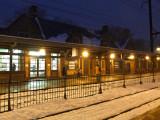 Train station on a winter night