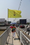 Walking accross the Nakhon Phing Bridge over the Mae Ping River