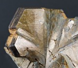 Pyrrhotite crystals in 25 mm curved group. Cambokeels Mine, Weardale, Co Durham.