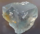 Fluorite twin with quartz crystals, 38 mm, 430 level, Greencleugh Mine, Rookhope, Co Durham