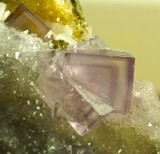 Fluorite colour-zoned interpenetrant twins to 2 cm on 10 cm drusy quartz matrix, Cambokeels Mine.