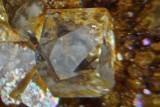 Fluorite twin, ca 3 mm across showing trapezohedral corners. California Mine, Little Eggleshope, Teesdale, Co Durham.