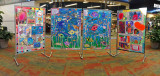 STUDENT ART ON DISPLAY IN THE ASHEVILLE MALL  -  AN IN-CAMERA PANORAMA IMAGE