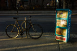 Bicycle and Free Newspapers in the Late Afternoon