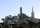 Coit Tower and the Transamerica Pyramid building, from Pier 39