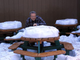 Alan at a not-too-hospitable picnic table