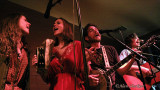 Railflowers' Ellen & Beth Knight and Brothers Comatose's Alex and Ben Morrison sing encore, Bad Moon Rising