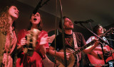 Railflowers' Ellen & Beth Knight (w/foot tambourine) and Brothers Comatose's Alex & Ben Morrison sing encore, Bad Moon Rising
