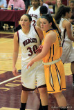 No. 31, McKenzie Dalthorp, tries to get position against the S.F State center