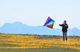 Flying a kite at Table Mountain with Sutter Buttes in the background