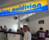 Trans Maldavian seaplane counter at Male airport