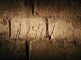 Alcatraz citadel. Phil Grosser's convict #11461 carved into bricks