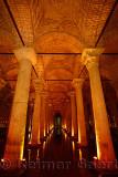Marble columns in the underground Basilica Cistern of Istanbul Turkey