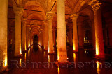 Water with fish and marble columns in the underground Basilica Cistern of Istanbul Turkey