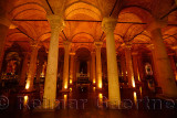 Walkway through the marble columns of the underground Basilica Cistern of Istanbul Turkey