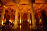Marble columns and cathedral roof of the underground Basilica Cistern of Istanbul Turkey
