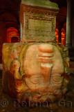 Upside down stone head of Medusa in the underground Basilica Cistern of Istanbul Turkey