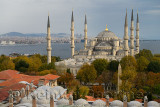 Blue Mosque and Madrasa on European side with Asian side of Istanbul Turkey over the Bosphorus