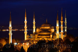 The Blue Mosque lit at twilight on the Bosphorus in Sultanahmet Istanbul Turkey