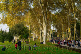 Gulhane Park on National Holiday with Turkish families and visitors Istanbul Turkey