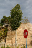 Turkish stop sign at the outer rampart sea wall of Constantinople now Istanbul Turkey