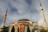 Earlier two minarets of the ancient Hagia Sophia in Istanbul Turkey