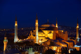 Night lights on Hagia Sophia and Firuz Aga Mosque at twilight in Istanbul Turkey