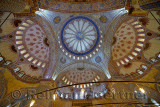 Ceiling of the Blue Mosque Istanbul Turkey with Iznik tiles and stained glass windows