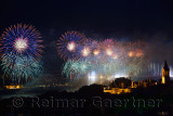 Blue Republic Day fireworks on the Bosphorus with Bridge lights and Topkapi and Dolmabahce Palaces Istanbul